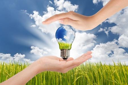 Mani di risparmio, Global concetto di Green Energy Solutions con lampadina e pianeta sul paesaggio Bright