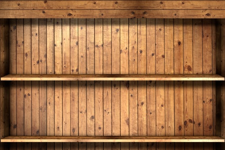 Wooden book Shelf use for background Stock Photo - 9646419