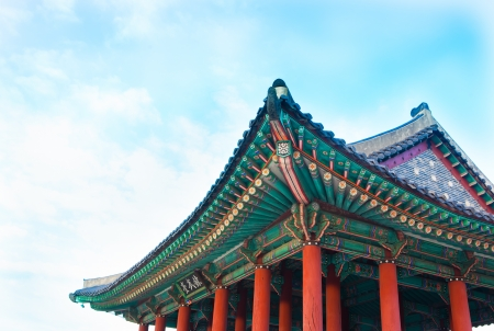 Korea  traditional multicolored paintwork on wooden buildings photo