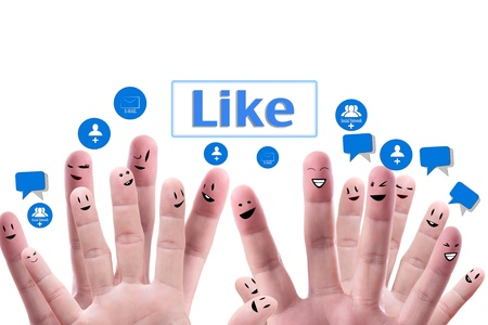 Social network concept of Happy group of finger faces  with speech bubbles Stock Photo - 9733524