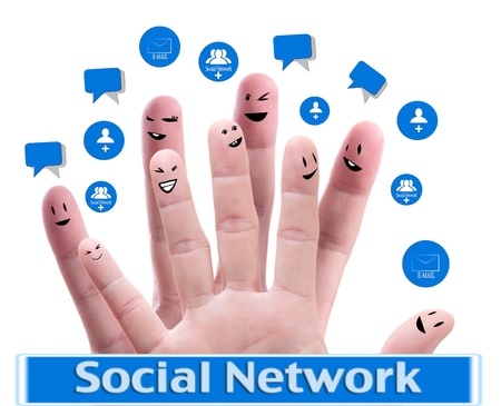 Social network concept of Happy group of finger faces  with speech bubbles Stock Photo - 9733523