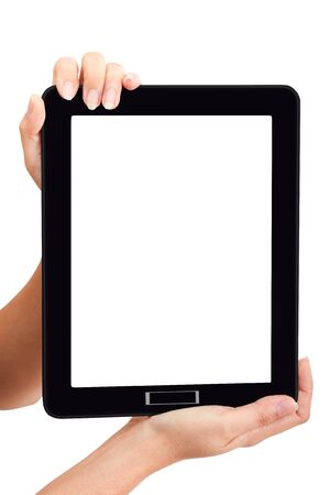hand held: Woman touch back touch pad using for your market promotion