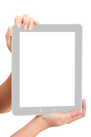 Woman touch back touch pad using for your market promotion photo