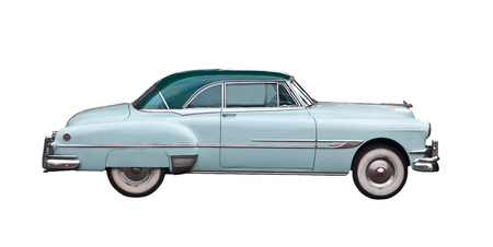 shiny car: licht blauwe retro auto op een witte backgournd