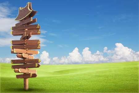 Wooden sign on the green field with blue sky Stock Photo - 9733640
