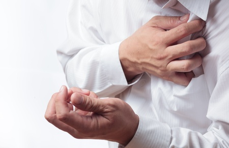 chest pain: Heart Attack Stock Photo