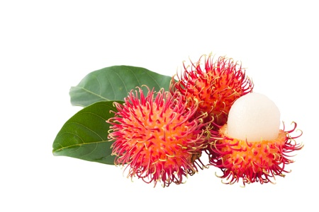 Isolated XXL size ,asian fruit rambutan on white background