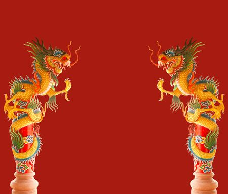 two Beautiful Chinese dragons on red background photo