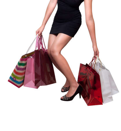 Beautiful woman with shopping bags for sale promotions photo