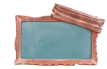empty blackboard with wooden frame photo