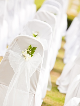 wedding chairs: Tropical settings for a wedding on mountain Stock Photo