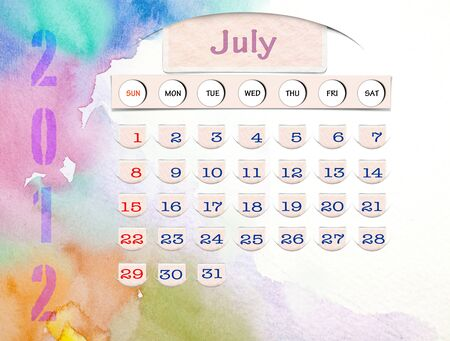 Calendar 2010, July on Water Color photo