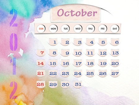 Calendar 2010, October on Water Color photo