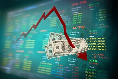 makler: sinkende Dollar-Note und Diagramm der B�rse mit hat board