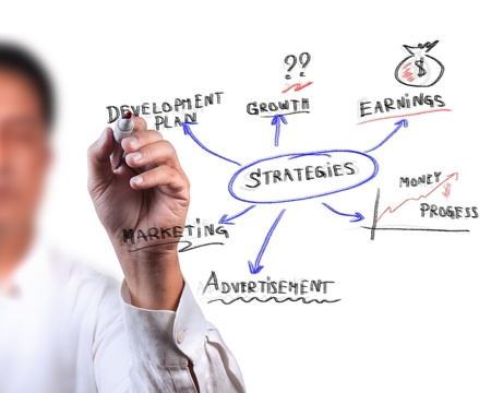 assessment: Business man drawing Business Strategy diagram Stock Photo