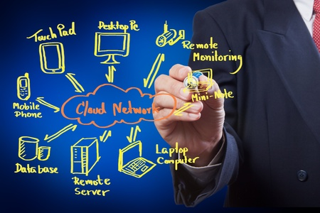 boy drawing cloud network on white board Stock Photo - 10313240