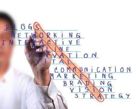 weblogs: Business man select social media word, social network marketing concept
