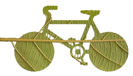 environmental conservation: Pushbike from green leave, eco concept