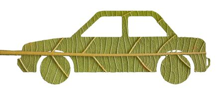 toxic emissions: green car from  leave, eco concept