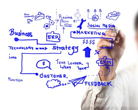 man drawing idea board of business process Stock Photo - 10427376
