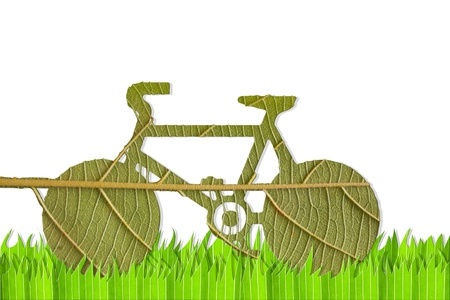 Pushbike from green leave, eco concept Stock Photo - 10427423