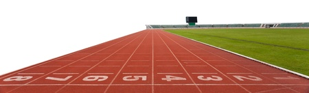 isolated Running track numbers in front of tracks photo
