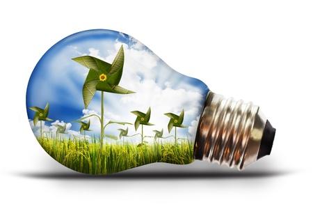 risparmio energetico: lampadina con risone Archivio Fotografico