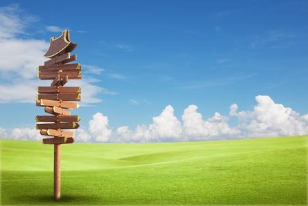 Houten teken op het groene veld met blauwe hemel