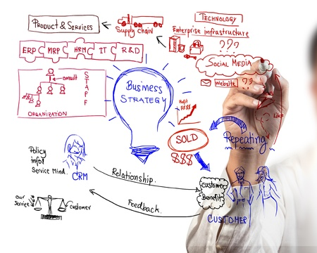 man drawing idea board of business process Stock Photo - 10558018