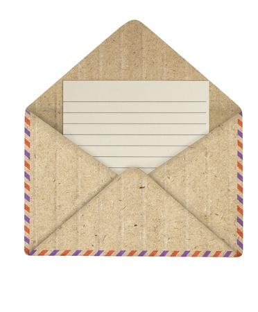 sobres para carta: Abri� el papel de reciclaje de envolvente Foto de archivo