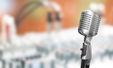 Retro microphone with mixer background photo