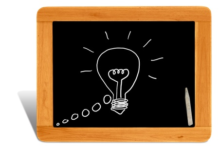 Black board Wooden frame  with drawing light bulb for idea photo
