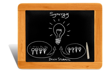 brain storming: Black board Wooden frame  with synergy ideal by brain storming