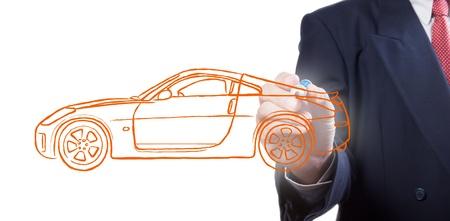 Men drawing a car photo