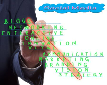 organisation: Business man select cross word of social media