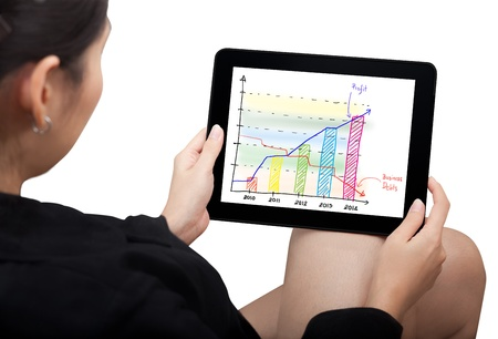 business Woman watching business graph on modern touch pad photo