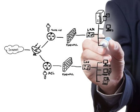 businessman drawing a security plan for a firewall system photo