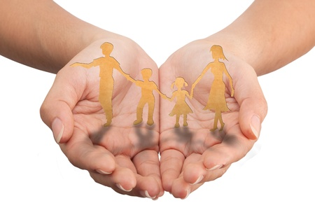 adopting: Warmth family concept on hands, make for cut out  Stock Photo