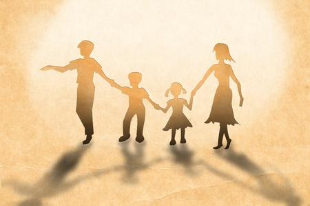 Concepto de familia de calidez, hacen de cut out de papel sobre papel vintage