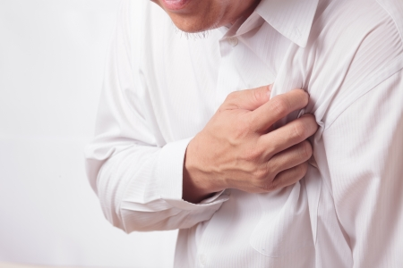male chest: Heart Attack Stock Photo