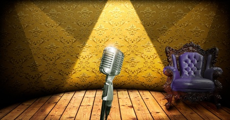 rockabilly: Retro microphone on stage and luxury chair Stock Photo