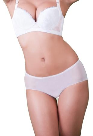 Slim tanned woman photo