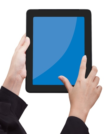 Woman holding Touchpad PC (Tablet PC) photo