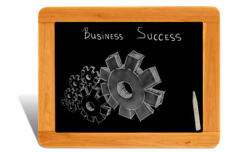 wood turning: Black board Wooden frame  with gear of business success Stock Photo