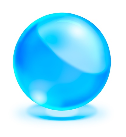blue crystal ball on white background photo