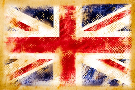 english flag: british flag grunge  on old vintage paper