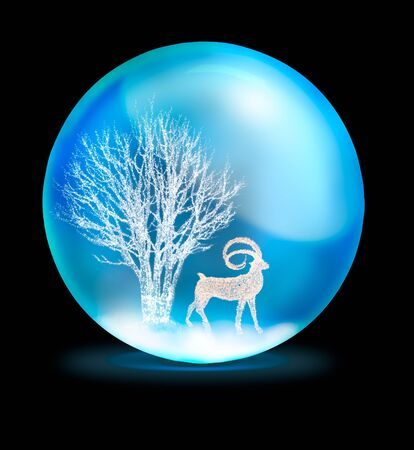 fur trees: lighting tree and deer in crystal ball on black background