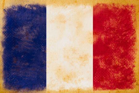 french culture: France flag grunge  on old vintage paper