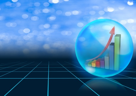 Growth graph in blue crystal ball on black background Stock Photo - 10849446