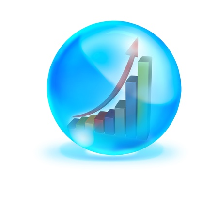 Growth graph in blue crystal ball on white background Stock Photo - 10849396